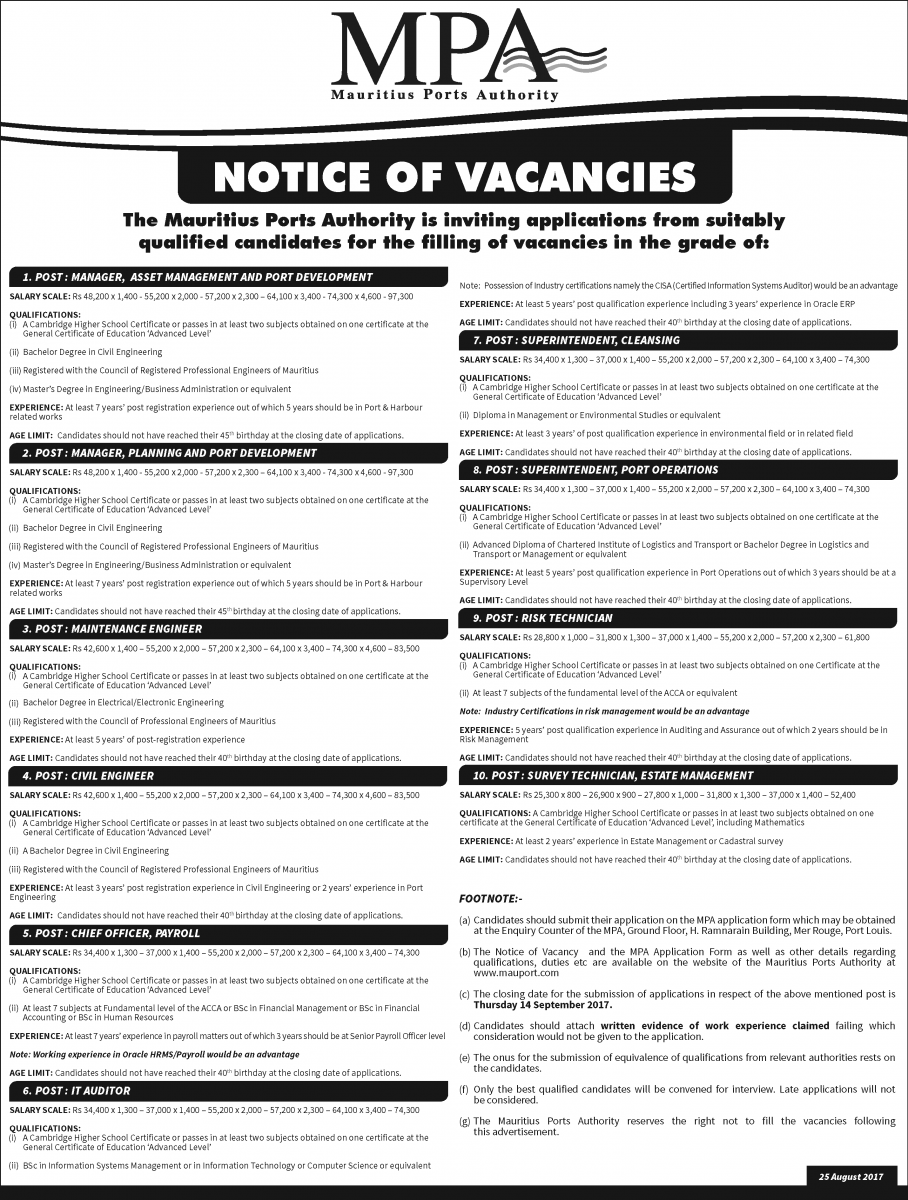 Pport Application Form | Vacancies 25 August 2017 Mauritius Ports Authority