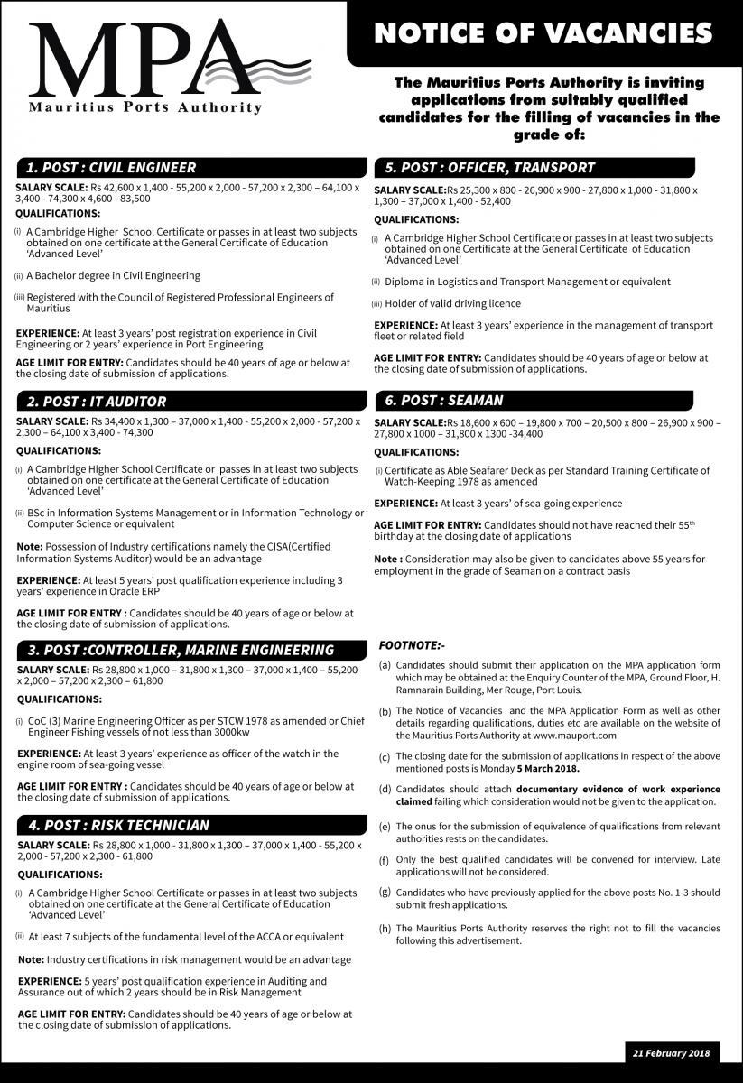 Vacancies 21 February 2018 | Mauritius Ports Authority