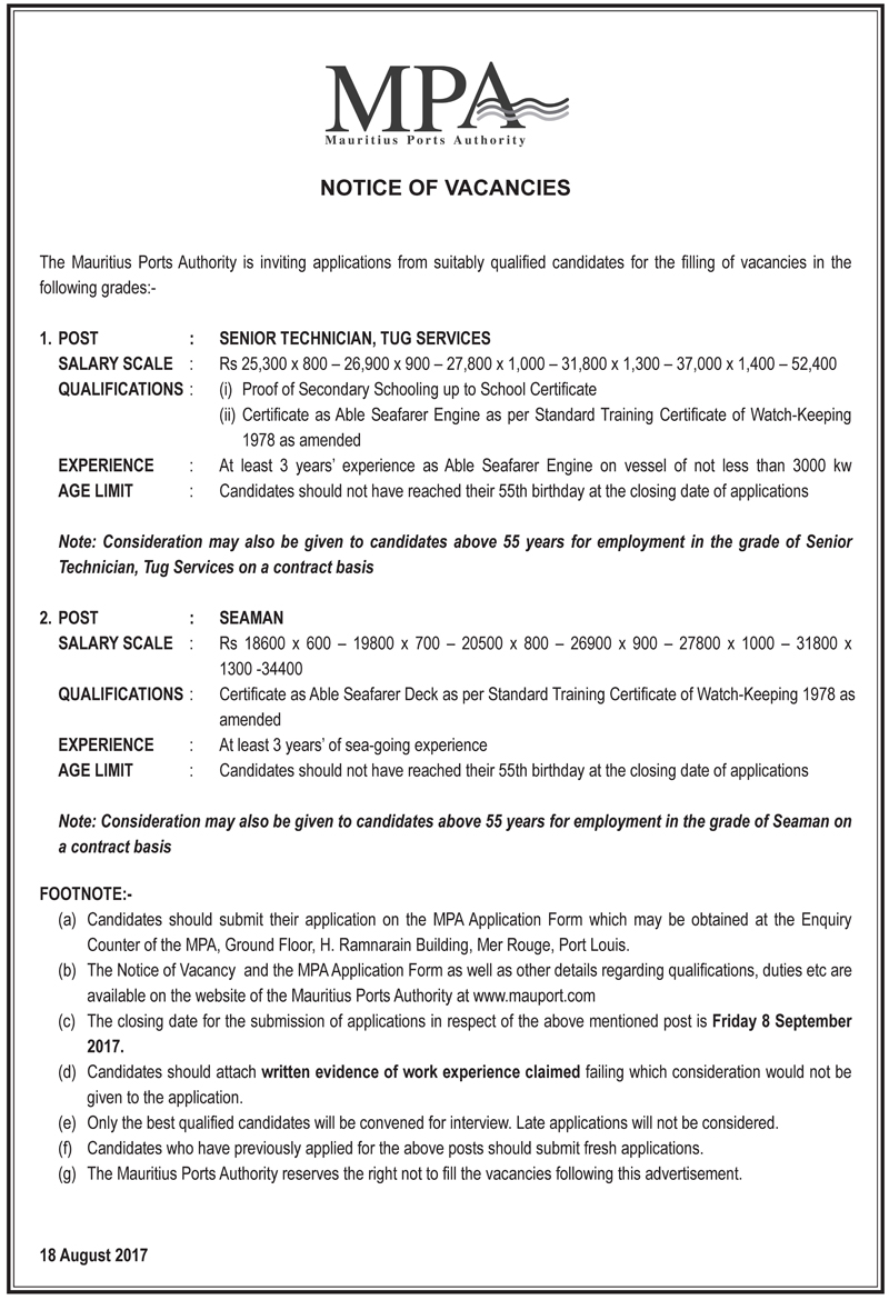 Vacancy 18 August | Mauritius Ports Authority